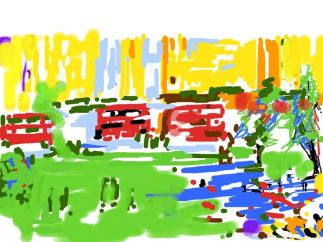 Working on the iPad - parliament square